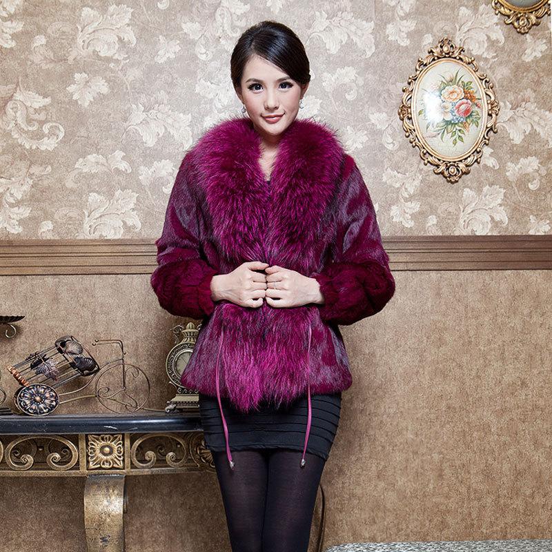 Осень зима женщины подлинной естественная кроличий мех пальто с енот мех воротник регулируемый ремень женское верхняя одежда пальто 0022