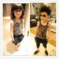 Wholesale 1 lot= 5 pieces Children's Clothing Summer sleeveless vest Girls Tees Boys Tops leopard zebra caroon