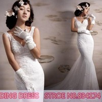 Cii royal princess Korean Korean French lace deep V fish tail trailing the bride wedding dress