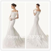 amazing white ivory lace mermaid off shoulder long sleeve wedding dress custom