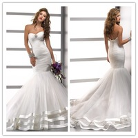 Free Shipping 2014 Hot Sale Elegant Mermaid Organza White/Ivory Wedding Dress Bridal Gown SADF-45