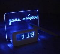 Free Shipping Blue LED Fluorescent Message Board Digital Alarm Clock Hub Calendar Night light 95256