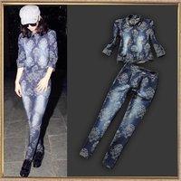 Fashion flower denim trousers set twinset casual women's