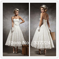 New Sexy White/Ivory Tea length wedding dress Bridal gown Custom size 6-16