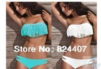 VS Beach Bikinis Set Swimwear Women Two Piece Swimsuit Sexy Strapless Tassel Swim Wear Swimming Clothing Set 2014 New