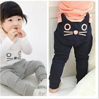 Free Shipping Cotton cat girls big boy Harem pants jeans Korean KID children birthday gift Drop Leisure Cartoon Trouser CL020