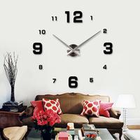 Freeshipping Creative Design Large Digital Wall Clock Art Big Black Sticker 3D diy Round Clocks Watches Sofa Home Decoration