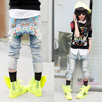 2014 girl clothing Medium-large female child 2014 after print drawstring buckle jeans harem pants harem pants long trousers