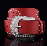 New Arrival High Quality Unique Design Pin Buckle Genuine Leather Women's Belt Cowskin Female Belts with Crystal