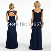 Navy Blue Bridesmaid Chiffon Dress A Line Sweetheart Gathered Bodice Lace Natural Lace Cap Sleeve Key Hole