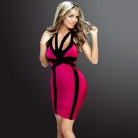 Women's Sexy V Neck Dresses Bodycon Club Dress Hot Clubwear Bandage Like Party Mini Dresses 2014 New Fashion