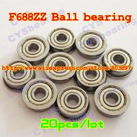 20pcs /lot F688ZZ F688ZZ 8X16X5mm 8*16*5mmF688-2Z flanged metal shielded steel ball bearing
