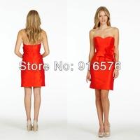 Red Sweetheart Neckline Column Sleeveless Wedding Party Gowns Pleated Short Taffeta Bridesmaid Dresses