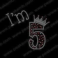 50Pcs/Lot Free Dhl Shipping I Am 5 Wholesale Rhinestone Accessories Iron On Number Transfers Hotfix Patterns Design