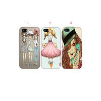 DIY beautiful girl design phone cases for apple Iphone 4 4s 4g 5 5s 5g case free shipping,3style for your choose