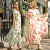 Free Shipping 2014 Newest Arrival Lace Crochet Woman Flower Printed Long Maxi Chiffon Dress