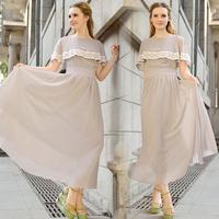 Free Shipping 2014 New Fashion Summer Elegant Retro Women Lace Crochet Chiffon Cape Collar Maxi Dresses Saia Vestido