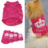 Pet Dog Cat Cute Princess T-shirt Clothes Vest Summer Coat Puggy Costumes Outfit[210402]