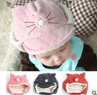 Lei feng cap child ear cap winter cat plush male female child cotton velvet hat d87