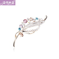 Accessories fashion rhinestone leaf brooch corsage scarf sweater pin cape buckle