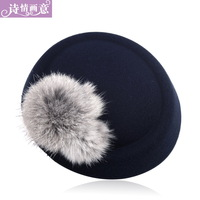 Hair accessory woolen beret ccbt rabbit fur hair accessory fedoras side-knotted clip duckbill clip