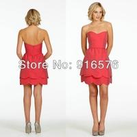 Sweetheart Neckline A-line Scalloped Hem A-line Taffeta Coral Tiered Short Bridesmaid Dresses