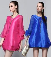 2014 new Women's o-neck  one-piece dress plate flower sleeve elegant temperament elastic lantern