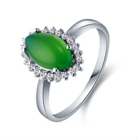 Wholesale 925 Sterling Silver Big Zircon Rings Hot Sale Hipster Jewelry Emerald Rings For Women Green Ring