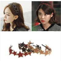 Free shipping 2014 new design leather rivet star women hairband,fashion hair accessory