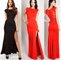 European and American big yards Slim sexy hollow lace dress slit dress dress
