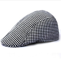 Wholesale adult popular plaid ivy hats women and men fashion wool felt newsboy caps