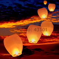 Hot ! 10 large White Chinese Fire Flying Sky Paper Kongming Floating Wishing Lantern Wedding