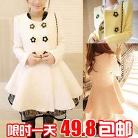 2014 spring sweet flower double breasted medium-long slim woolen outerwear overcoat women's