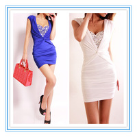 Women's Sexy Decolletage Dresses Club Dress Front Cross Ruched Bodycon Rhinestone Decorated Hot Clubwear Party Dresses 2014 New