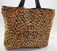 Leopard Soft Foldable Tote Women's Shopping Bag Shoulder Bag Lady Handbag Pouch Washable light Weight W Zipper Closure Pocket