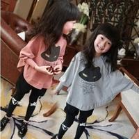 Fashion Children's clothing Child Beautiful T-shirt 2014 New Spring Girls Child Batwing Long-sleeve T Shirt Sweatshirt