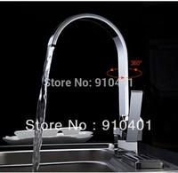 Wholesale And Retail Promotion NEW Chrome Brass Kitchen Faucet Swivel Spout Vessel Sink Mixer Tap Single Lever