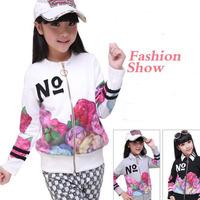 Girls New 100% Cotton Long-sleeve Outerwear Trend Flower Preppy Coat 2014 Spring Girls Children Clothing Jackets