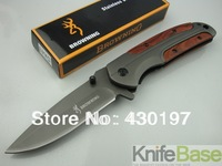 The Folding knife DA43-Browning fast open knife 440C 57HRC steel + rosewood Handle with belt clip 5pcs/lot wholesale