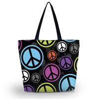 Peace Sign Soft Foldable Tote Women's Shopping Bag Shoulder Bag Lady Handbag Pouch Washable light Weight W Zipper Closure Pocket