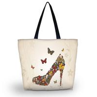 High-heel Soft Foldable Tote Women's Shopping Bag Shoulder Bag Lady Handbag Pouch Washable light Weight W Zipper Closure Pocket