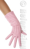 Vintage leather sheepskin genuine leather gloves long black and white Pink Women leather gloves
