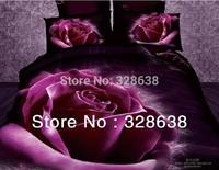 Hot!! Purple roses duvet cover sets queen jacquard bedding comforter sets big flowers oil printing bedspread 3D bedroom sets