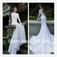 2014 New Long Sleeve Mermaid Lace Wedding Dress Custom Size