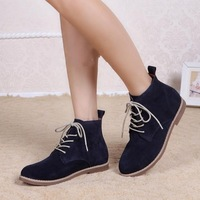2013 fashion british style strap martin boots cowhide lacing short winter boots shapi knee-high female shoes
