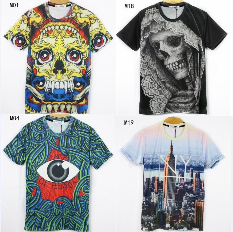 [Magic] 2014 newest style 3D tshirt men high quality cartoon/building/anima printed cotton t-shirt 21models free shipping(China (Mainland))