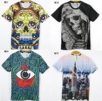 [Magic] 2014 newest style 3D tshirt men high quality cartoon/building/anima printed cotton t-shirt 21models free shipping