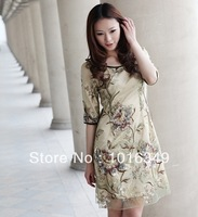 new 2014 high-grade dress! Classic Chinese temperament! Rich and elegant silk dress temperament
