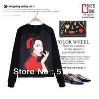 2014women RED LIPS Marilyn Monroe LADY  WOMEN 3D print fleece pollover hoodies,women Bat norton punk sweatshirts