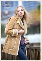 Women's Faux Fur and Leahter double face outerwear  turn-down collar wool medium-long Faux lamb Winter warm garment coat